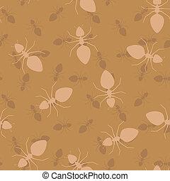 prosty, -, seamless, mrówki, wektor, struktura