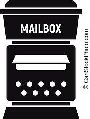 prosty, styl, ikona, skrzynka pocztowa