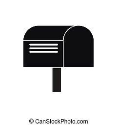 prosty, styl, skrzynka pocztowa, ikona