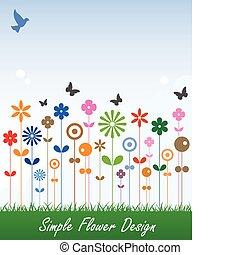 prosty, wiadomość, kwiat, karta, etykieta