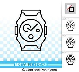 prosty, zegarek na rękę, wektor, czarnoskóry, kreska, ikona