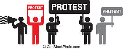 protestując, ludzie, ikony
