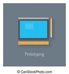 prototyping, płaski, projektować, ilustracja