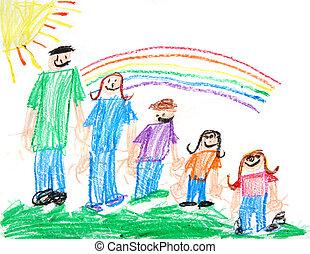 prymitywny, dzieciaki, pastel rysunek, rodzina