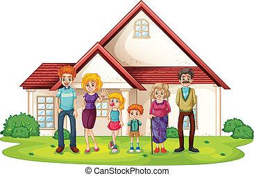 przód, dom, cielna, rodzina, ich