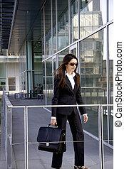 przód, kobieta, biuro, handlowy