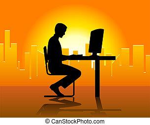 przód, komputer, człowiek
