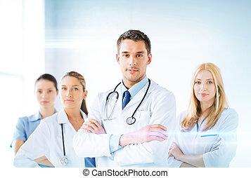 przód, medyczny, samiec, grupa, doktor