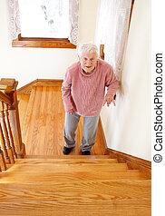 przód, starsza kobieta, schody