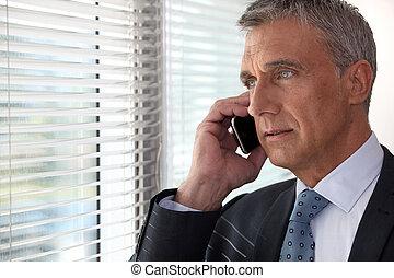 przód, telefon, okno, wykonawca