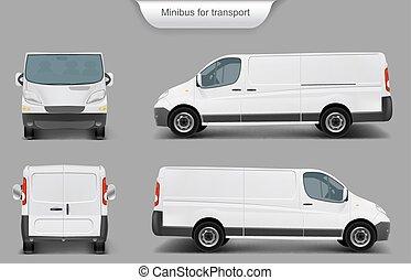 przód, wstecz, minivan, biały, widok budynku