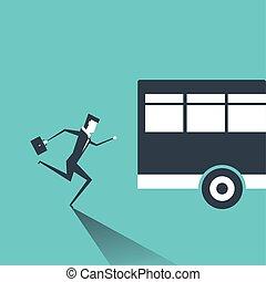prześciganie, handlowy, po, wyścigi, bus., garnitur, człowiek