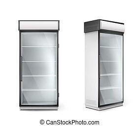 przeźroczysty, drzwi, szkło, chłodnia, opróżniać