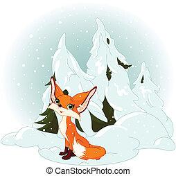 przeciw, śnieżny, las, sprytny, lis