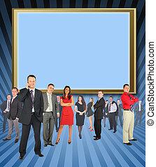 przeciw, biznesmeni, różny, collage, reputacja, ekran