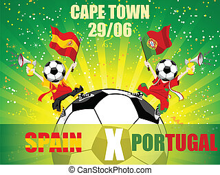 przeciw, gra, piłka nożna, hiszpania, portugalia