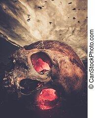 przeciw, oczy, jarzący się, niebo, czaszka, ludzki, burzowy