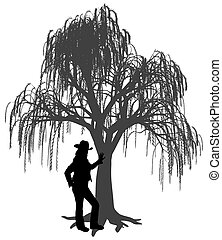 przeciw, płaczący, młody, nachylenie, kobieta, kapelusz, wierzbowe drzewo