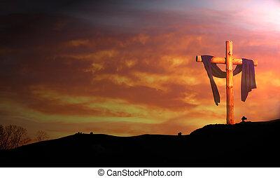 przeciw, wschód słońca, drewniany, chmury, krzyż