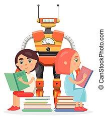 przeczytajcie, cielna, robot, dziewczyna, chłopiec, ilustracja