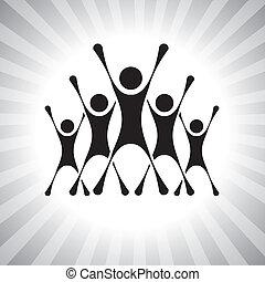 przedstawiać, ludzie, graphic., członki, również, zwycięzcy, podniecony, może, wstrząśnięty, po, ilustracja, wyzwanie, skokowy, achievers, wspaniały, ludzie, to, competition-, etc, wektor, zwycięstwo, drużyna