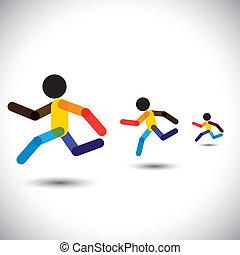 przedstawiać, osoba, abstrakcyjny, sprint, trening, cardio, ikony, zwycięski, również, zdrowie, biegi, barwny, wyzwanie, wyścigi, treningi, graficzny, maraton, to, competition., etc, wektor, może, atleci
