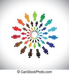 przedstawiać, pojęcie, ludzie, globalny, współpracując, interacting, &, również, inny, multi-ethnic, barwny, towarzyski, wspólnoty, circles., graficzny, to, drużyny, wektor, może, każdy, spotykać, albo
