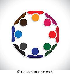 przedstawiać, pojęcie, ludzie, graphic., interaction-, pracownicy, również, pracownik, koła, rozmaitość, barwny, ilustracja, jedność, spotkanie, dzieciaki, to, razem, interpretacja, etc, wektor, może, albo