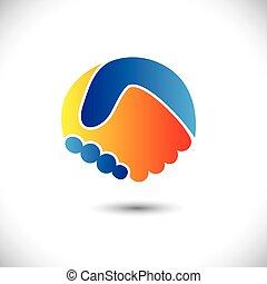przedstawiać, pojęcie, ludzie, shake., współudział, &, -, gesty, również, jedność, nowy, przyjaźń, handlowa ilustracja, ręka, przyjaciele, ikona, graficzny, to, powitanie, ufność, etc, wektor, może, albo
