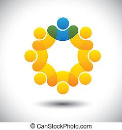 przedstawiać, pojęcie, nadzorca, abstrakcyjny, współposiadanie, dyrektor, &, -, również, vector., koło, lider, członki, lider, ikona, graficzny, personel, to, pracownicy, ikony, przewodnictwo, etc, może, drużyna