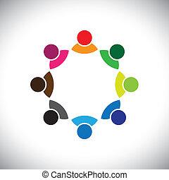 przedstawiać, pojęcie, wykonawca, dzieci, grupa, również, pracownik, spotkanie, może, group., barwny, dyskusja, graficzny, to, razem, interpretacja, etc, wektor, multi-ethnic, drużyna, zbiorowy, albo