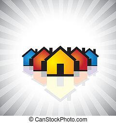przedstawiać, przemysł, stan, graphic., icon(symbol)-, &, również, posiadanie, prawdziwy, sprzedajcie, handlowa ilustracja, zbudowanie, nieruchomość, houses(homes), barwny, kupno, to, etc, wektor, może, albo
