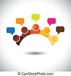 przedstawiać, spotkania, grupa, biuro, etc, to, graphic., ilustracja, teamwork, szturmowy, wektor, mózg, może, członki, dyskusje, executives(employees), opinions-, airing, zdania, personel