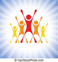 przedstawiać, wektor, zwycięstwo, ludzie, etc, wstrząśnięty, graphic., drużyna, to, ilustracja, wyzwanie, również, achievers, zwycięzcy, achievers, może, członki, świętując, wspaniały, podniecony, competition-