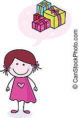 przedstawia się, doodle, dziewczyna, szczęśliwy