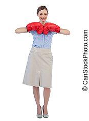 przedstawianie, boks, radosny, kobieta interesu, rękawiczki, czerwony