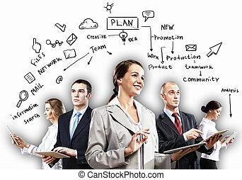 przedstawianie, businesspeople, drużyna