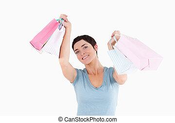 przedstawianie, mnóstwo, zakupy, radosny, kobieta