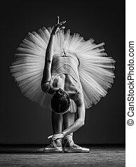 przedstawianie, studio, balerina, piękny, młody