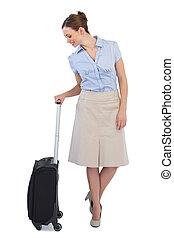 przedstawianie, szykowny, walizka, radosny, kobieta interesu