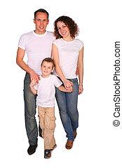 przedstawianie, trzy, rodzina