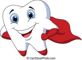 przedstawianie, ząb, sprytny, rysunek, superhero