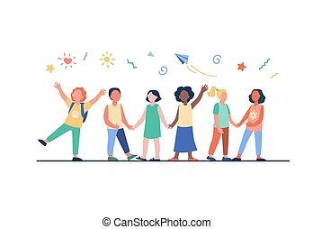 przedszkole, dzieci, grupa, rozmaity