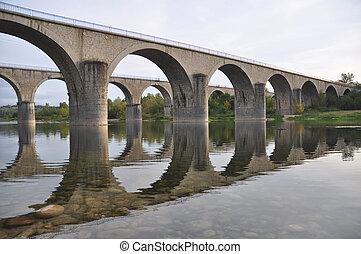 przejście, mosty, kamień, rzeka, ardeche