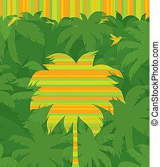 &, przelotny, drzewo, tropikalny, wektor, dłoń, dżungla, tło, humming-bird, zielony, pasiasty, las