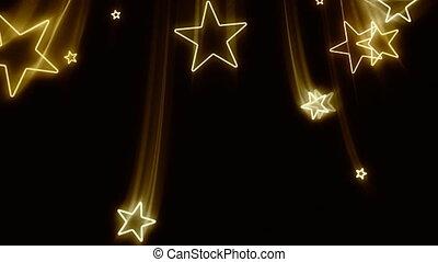 przelotny, gwiazdy, złoty, poza