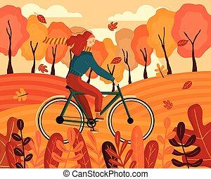 przelotny, illustration., jeżdżenie, barwny, szczęśliwy, jesień, dookoła, wind., tło., odzież, liście, kobieta, płaski, las, rower, młody, wektor, ubrany