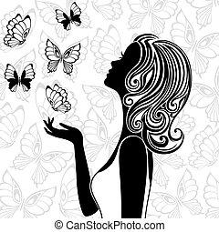 przelotny, motyle, kobieta, sylwetka, młody