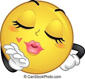 przelotny, pocałunek, smiley, maskotka
