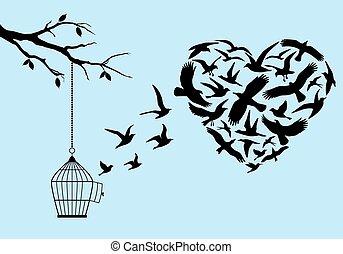 przelotny, wektor, ptaszki, serce